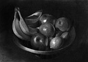 Food And Beverage Drawings Posters - Fruits in a bowl Graphite drawing Poster by Gabor Bartal