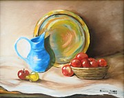 Still Life With Pitcher Art - Fruits On A Bowl by Rebecca Flores