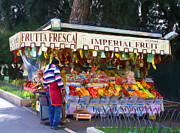 Fruit Stand Framed Prints - Frutta Fresca Framed Print by Tom Griffithe