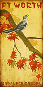 Mockingbird Digital Art Posters - Ft Worth Japanese Garden Poster by Jim Sanders