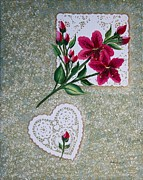 Doilies Prints - Fuchsia Daylilies on Doilies Print by Barbara Griffin