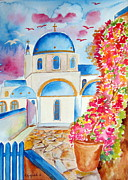 Orthodox Painting Framed Prints - Fuchsia in Santorini Framed Print by Roberto Gagliardi