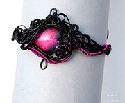 Space Jewelry - Fuchsia space wire wrapped upper arm cuff by Efi Sotiriou