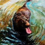 Canine Paintings - Fudge Ripple by Molly Poole