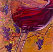 Vintage Red Wine Prints - Full Body Print by Debi Pople