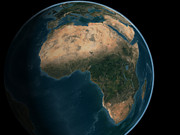 Terrestrial Sphere Posters - Full Earth From Space Above The African Poster by Stocktrek Images