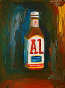 Glass Bottle Painting Posters - Full Flavored - A.1 Steak Sauce Poster by Patricia Awapara