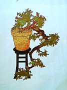 Bonsai Sculpture Posters - Full Kengai Copper Bonsai Poster by Vanessa Williams