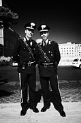 Police Officers Prints - full length of Two Arma Dei Carabinieri Italian police officers on duty in Piazza Venezia Rome Lazio Print by Joe Fox