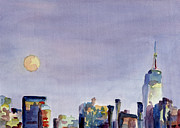 City Skylines Paintings - Full Moon and Empire State Building Watercolor Painting of NYC by Beverly Brown Prints