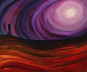 Night Angel Paintings - Full Moon by Angel Reyes