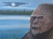 Fantasy Creature Paintings - Full Moon at Boggy Creek by Stuart Swartz