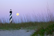 Sea Moon Full Moon Prints - Full Moon at Hatteras Print by Laurinda Bowling