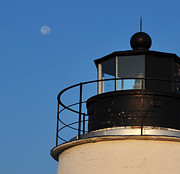 Lighthouse Digital Art - Full Moon at Piney Point by Bill Cannon