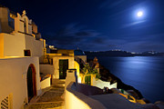 Night Scene Prints - Full moon at Santorini Print by Aiolos Greek Collections
