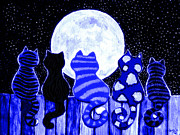 Felines Painting Prints - Full Moon Blues Cats Print by Nick Gustafson