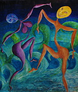 Sea Moon Full Moon Painting Metal Prints - Full Moon Dance 1b Metal Print by Roy Kenen