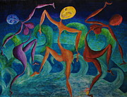 Sea Moon Full Moon Painting Originals - Full Moon Dance by Roy Kenen