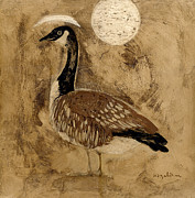 Geese Paintings - Full Moon by Don Hazeltine