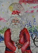 Christmas Eve Painting Posters - Full Moon Father Christmas Poster by Emily Michaud