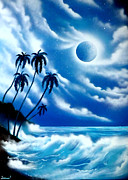 Sea Moon Full Moon Painting Originals - Full moon by Ismael Paint