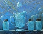 Water Jars Painting Metal Prints - Full Moon Light Metal Print by Lynne Summers