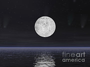 Three Dimensional Posters - Full Moon On A Dark Night With Stars Poster by Elena Duvernay