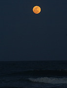 Sea Moon Full Moon Photo Posters - Full Moon On Beach Poster by Angelwolf Photography