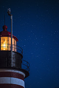 Maine Lighthouses Photo Prints - Full Moon on Quoddy 2 Print by Marty Saccone