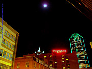Dallas Skyline Digital Art - Full Moon Over Dallas Skyline by PAMELA Smale Williams