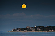 Marthas Vineyard Posters - Full Moon Over East Chop Poster by Steve Myrick