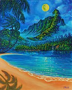 Moonscape Painting Prints - Full Moon over Kahana Bay Print by Joseph   Ruff
