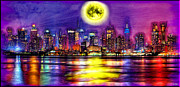 Reflections In River Digital Art Framed Prints - Full Moon over New York City  Framed Print by Daniel Janda