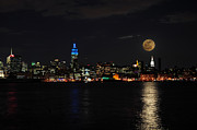 Skylines Photos - Full Moon over New York by Paul Ward