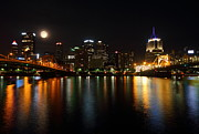 Burgh Posters - Full moon over Pittsburgh skyline Poster by Jetson Nguyen