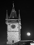 Town Clock Tower Framed Prints - Full Moon Over Prague Town Hall / Prague Framed Print by Barry O Carroll