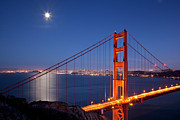 "Lights ""san Francisco"" Prints - Full moon over San Francisco Print by Brian Jannsen"