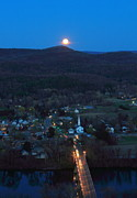 Deerfield River Metal Prints - Full Moon over the Connecticut Valley Metal Print by John Burk