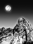 Black Top Digital Art Prints - Full Moon Over The Suicide Rock Print by Ben and Raisa Gertsberg
