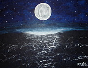 Sea Moon Full Moon Prints - Full Moon over the Water Print by Angie Butler
