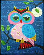 LuLu Mypinkturtle - Full Moon Owl on a Branch