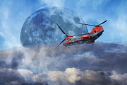 Mystic Sunset Posters - Full Moon Rescue Poster by Betsy A Cutler East Coast Barrier Islands