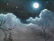Night Glow Painting Originals - Full Moon by Ricky Haug