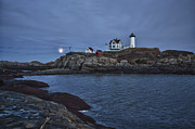 Cape Neddick Lighthouse Prints - Full Moon Rise Over Nubble Print by Jeff Folger