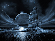 Pirate Ships Digital Art Posters - Full moon rising Poster by George Grie