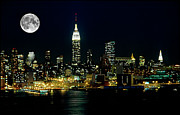 New York City Skyline Framed Prints - Full Moon Rising - New York City Framed Print by Anthony Sacco