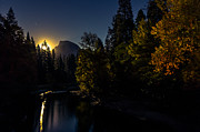 Half Dome Photos - Full moon rising over Half Dome by Scott McGuire