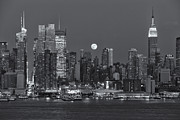 New York Skyline Art - Full Moon Rising Over New York City III by Clarence Holmes