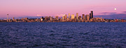 Puget Sound Photos - Full Moon Rising Over Seattle by Paul Conrad