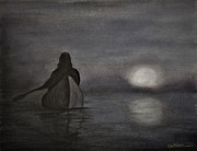 Canoe Pastels Prints - Full Moon Rising Print by Wade Starr
